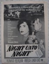 Night Unto Night (1949) - Ronald Reagan | Vintage Trade Ad
